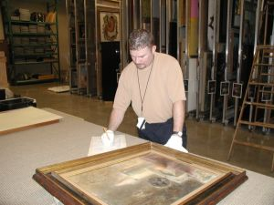 A registrar in his natural habitat: caring for collections. Thanks to Matt Leininger for the picture.