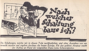 "Header of the category ""What wiring do I chose to build?"" of the popular German monthly journal ""Radio Amateur"" (taken from the issue 12/1928)"