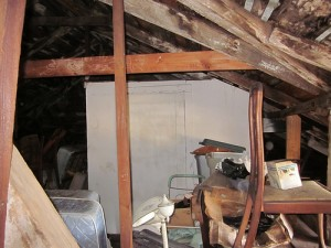 In attic, 1780s house, Nine Mile Point, Jefferson Parish, Louisiana. View towards 20th century closet constructed within the attic. by Infrogmation via flickr