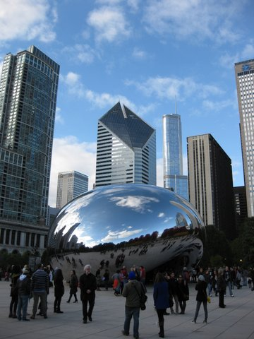 """Cloud Gate"" affectionately known as ""The Bean"" in Millennium Park"