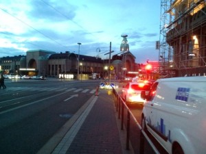 Helsinki white night with the art deco station