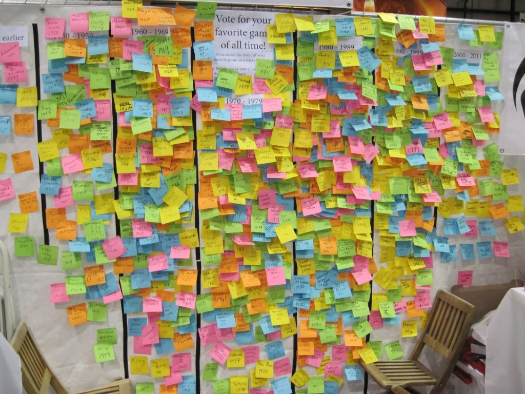 The Post-it wall, photo by Brian Quan